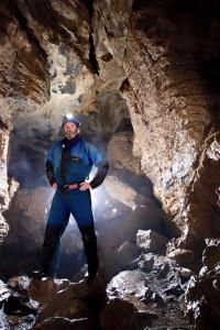 Duncan Simey in Swildon's Hole, Mendip Hills. Photographer: Gemma Smith