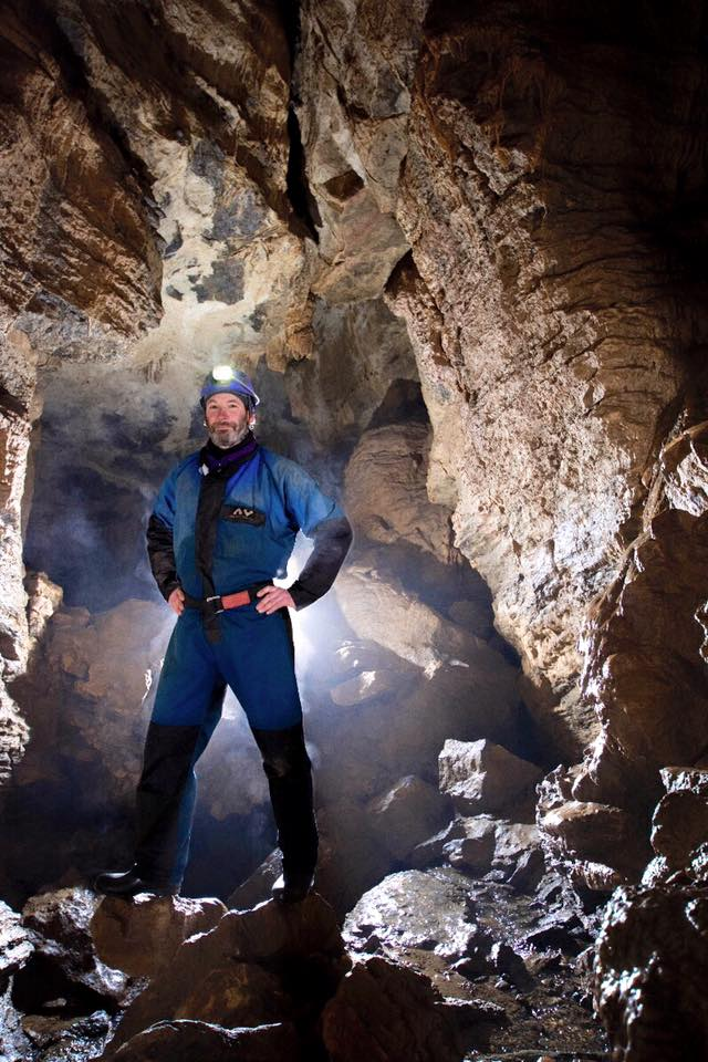 Duncan Simey in Swildon's Hole, Mendip Hills. Photographer: Gemma Smith