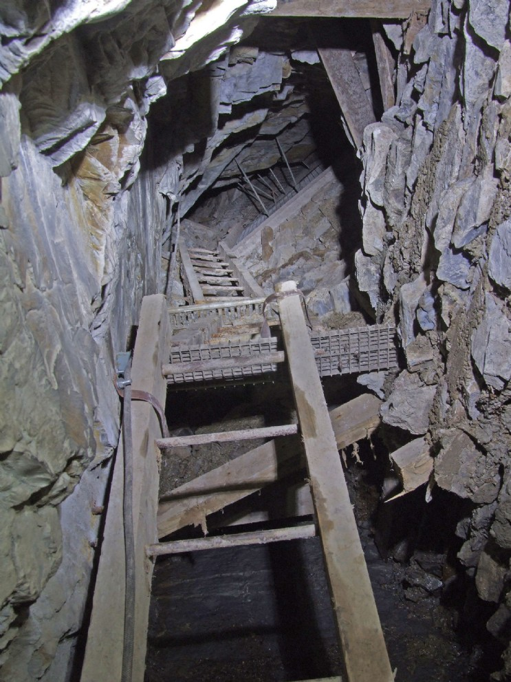 Ladderway to deep adit, Talybont Mine. The subject of Roy Fellows' stabilisation work 2015-16, including the concrete wall on the right of this photo. Photo: Roy Fellows.