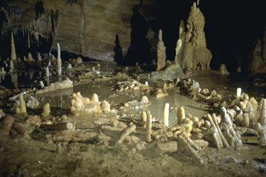 """Salle de la grotte de Bruniquel, Tarn-et-Garonne en 1992/93. Cette grotte comporte des structures aménagées datées d'environ 176 500 ans. L'équipe scientifique a développé un nouveau concept, celui de """"spéléofacts"""", pour nommer ces stalagmites brisées et agencées. L'inventaire de ces 400 spéléofacts montre des stalagmites agencées et bien calibrées qui totalisent 112 mètres cumulés et un poids estimé à 2,2 tonnes de matériaux déplacés. Ces structures sont composées d'éléments alignés, juxtaposés et superposés (sur 2, 3 et même 4 rangs). Cette découverte recule considérablement la date de fréquentation des grottes par l'Homme, la plus ancienne preuve formelle datant jusqu'ici de 38 000 ans (Chauvet). Elle place ainsi les constructions de Bruniquel parmi les premières de l'histoire de l'Humanité. Ces travaux ont été menés par une équipe internationale impliquant notamment Jacques Jaubert de l'université de Bordeaux, Sophie Verheyden de l'Institut royal des Sciences naturelles de Belgique (IRSNB) et Dominique Genty du CNRS, avec le soutien logistique de la Société spéléo-archéologique de Caussade, présidée par Michel Soulier. UMR5199 DE LA PREHISTOIRE A L'ACTUEL : CULTURE, ENVIRONNEMENT ET ANTHROPOLOGIE ,UMR8212 Laboratoire des Sciences du Climat et de l'Environnement  20160048_0007"""