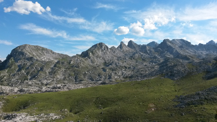 The peaks of the Western Massif of the Picos de Europe – home to some of the best and potentially some of the deepest caves in Europe.