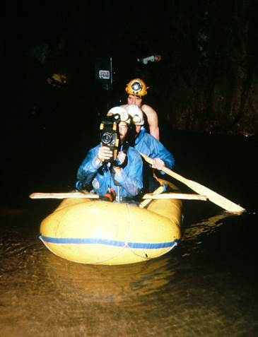 Filming in the canal on our way to film Sarawak Chamber in Mulu with Lindsay Dodd and Geoff Yeadon. (1980)