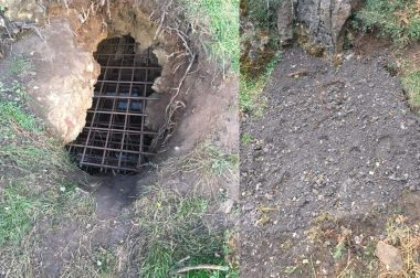 Twll Du before and after. Photo courtesy of Caves and Cave Diving on Facebook