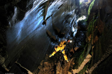 Jeff Wade abseiling in Calf Holes, Yorkshire Dales. Photo courtesy of Rob Eavis