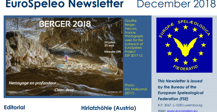 Latest Eurospeleo newsletter now available